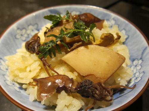 ホタルイカと筍の炊き込み