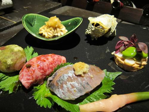 前菜7種(寿司三種・新生姜・白子焼・サザエ・フォワグラ)