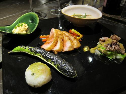 前菜6種(真子・白子・そら豆・鴨・平目・ホタルイカ)