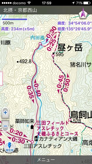 昼ヶ岳/登山地図