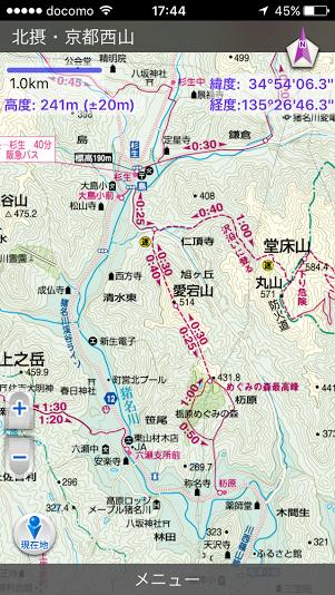 猪名川愛宕山/登山地図