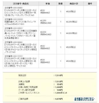 千趣会 ベルメゾン 注文内容 1703 201612
