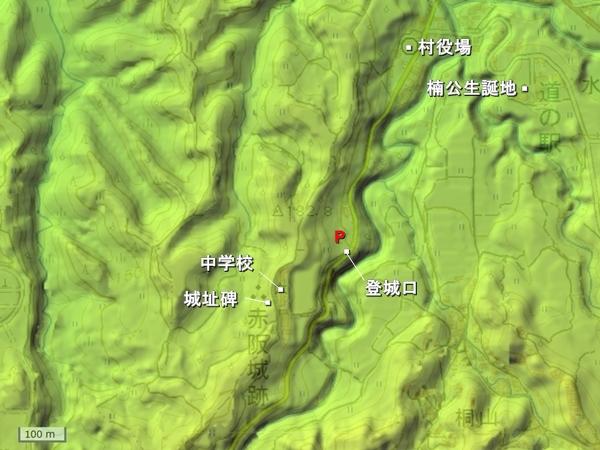 下赤坂城地形図