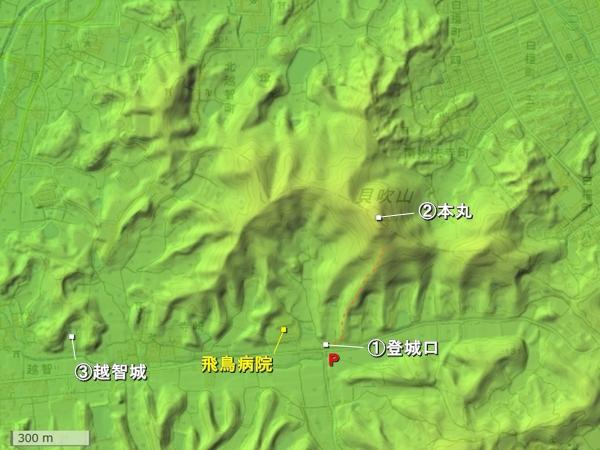 貝吹山城地形図