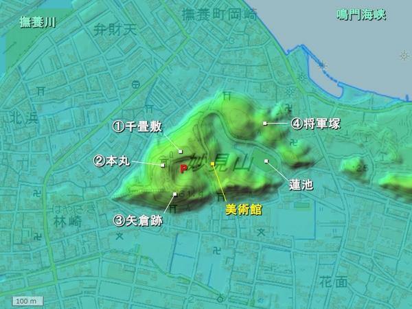 撫養城地形図