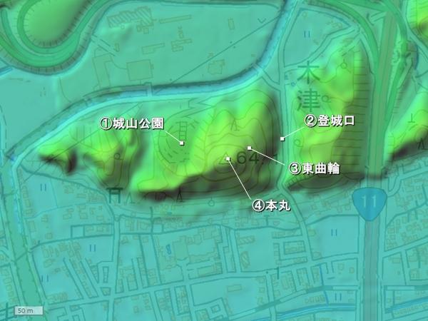 木津城地形図
