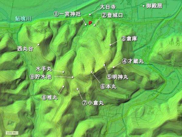 一宮城地形図