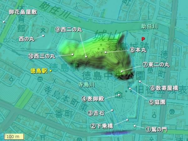 徳島城_地形図