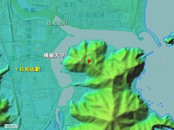 日和佐城地形図