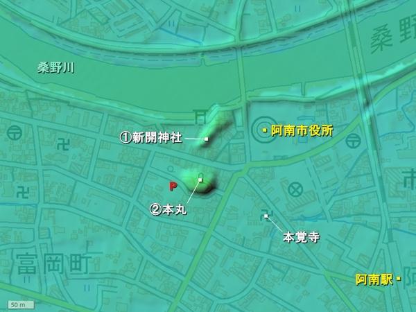 牛岐城地形図