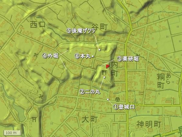 鮎貝城地形図