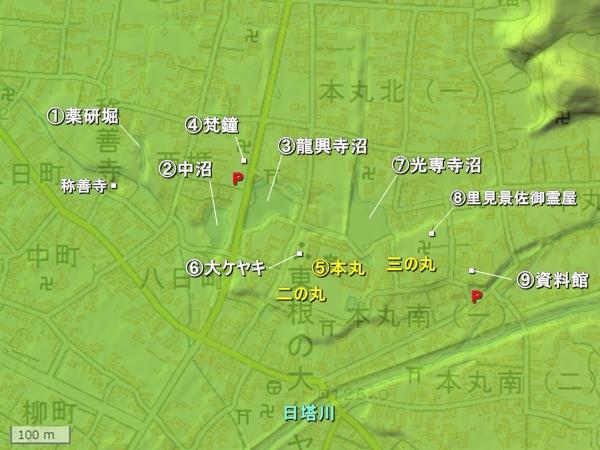 東根城地形図