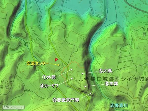 今帰仁城_地形図