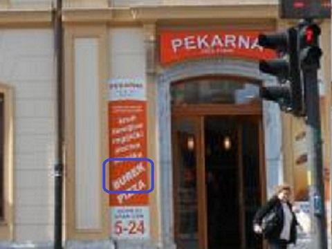 ブレクを買えるスロヴェニアのパン屋さんの看板