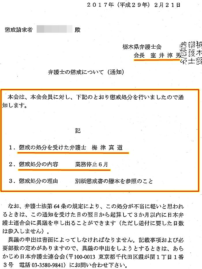 梅津真道弁護士 懲戒議決