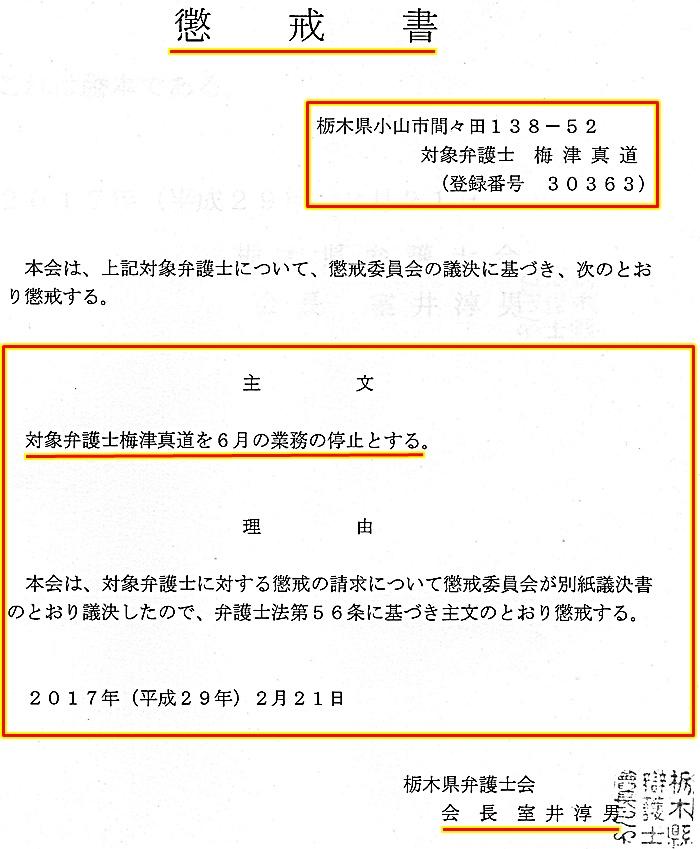 梅津真道弁護士 懲戒議決1