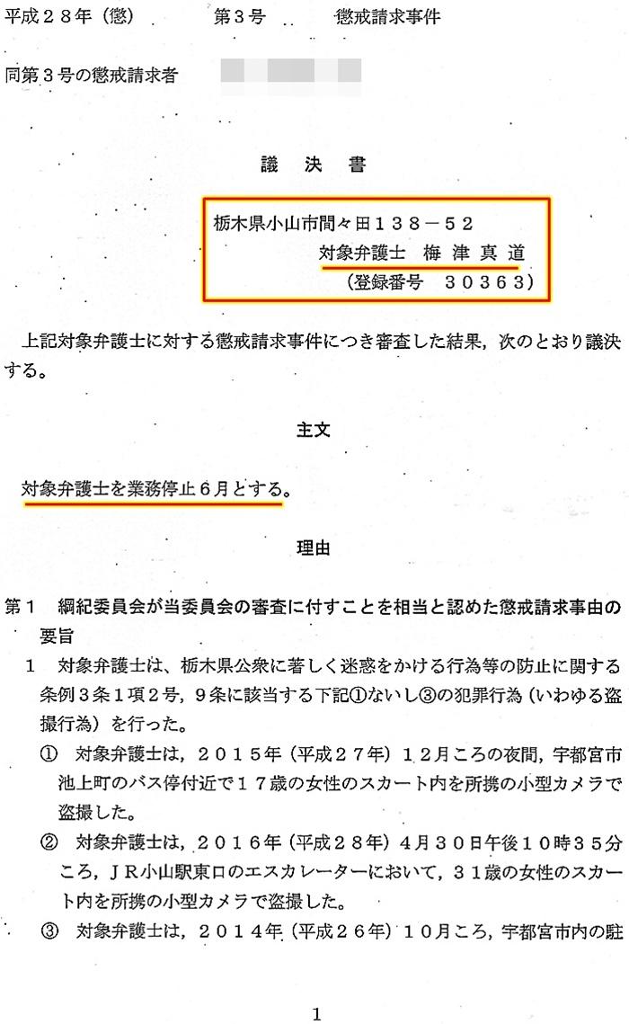 梅津真道弁護士 懲戒議決2