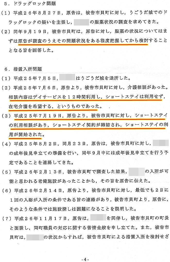 準備書面 蓬田勝美弁護士 入野正明町長 市貝町 道の駅 サシバの里いちかい4