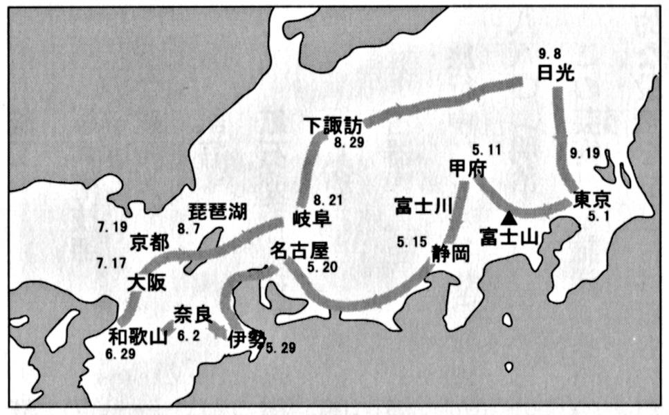 印刷局・古美術調査の旅~巡回ルート