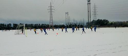雪中で練習
