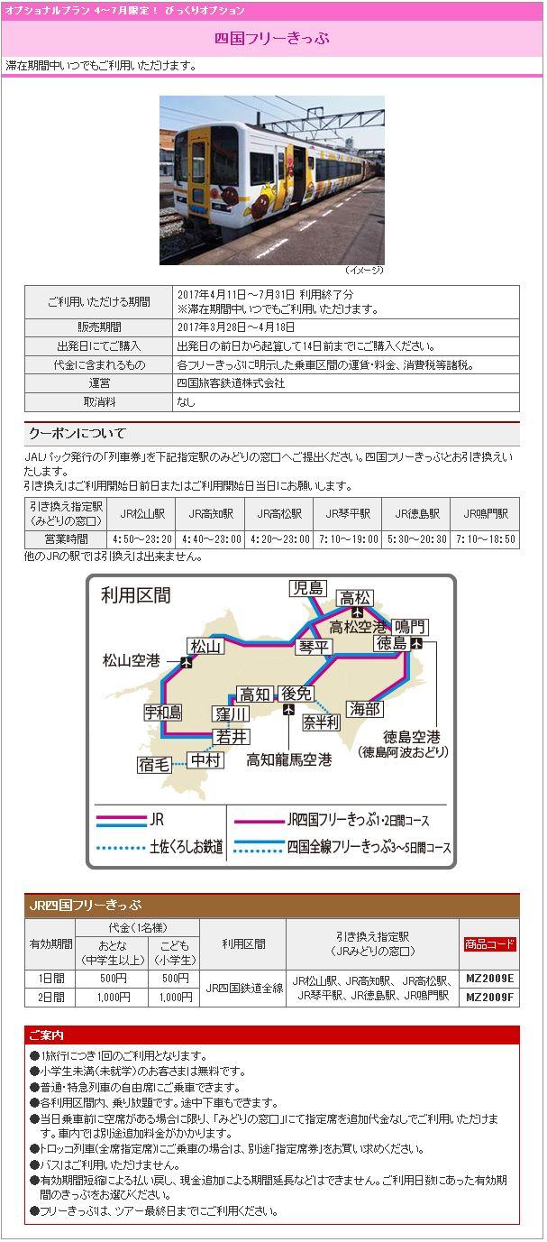4~7月限定! びっくりオプション 四国フリーきっぷ