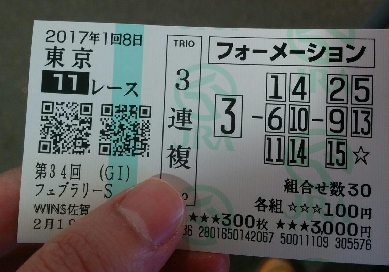 2017年2月19日東京11Rフェブラリーステークス 2,140円