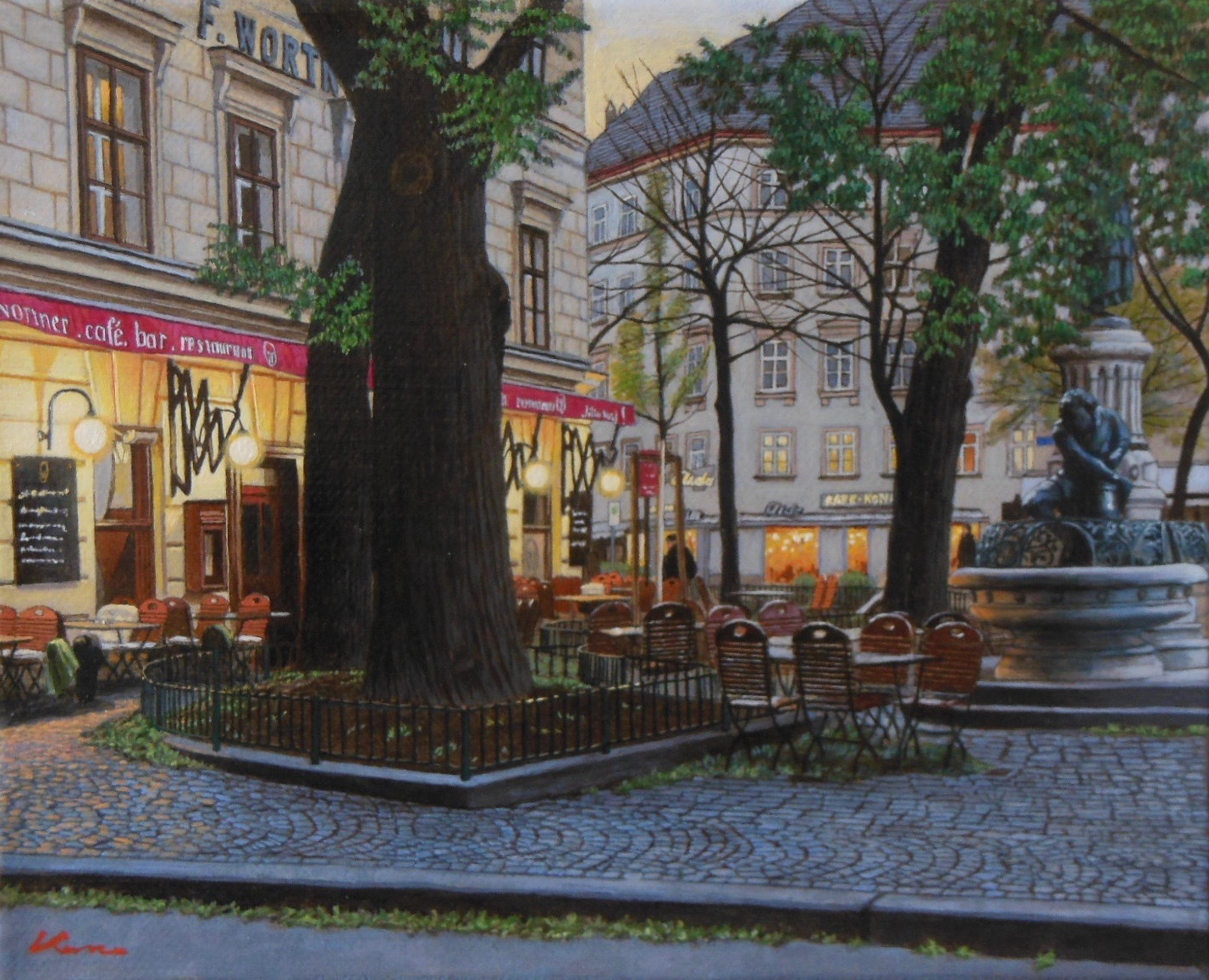 F3号題名「夕暮れのカフェ」