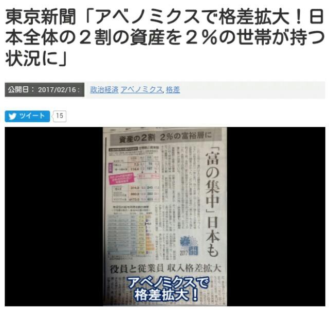 アベノミクスで格差拡大!日本全体の2割の資産を2%の世帯が持つ状況に「富の集中」日本も!