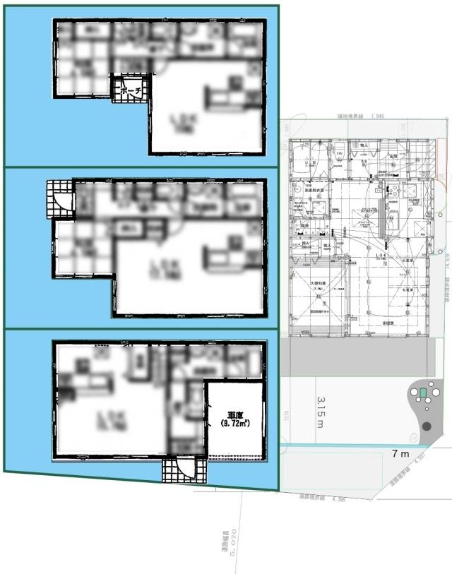 隣の家との配置関係1F