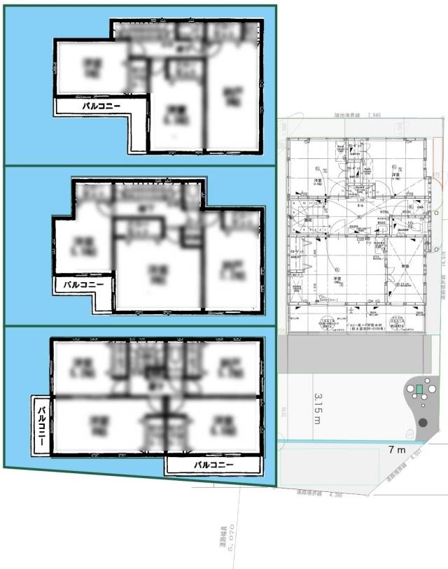 隣の家との配置関係2F