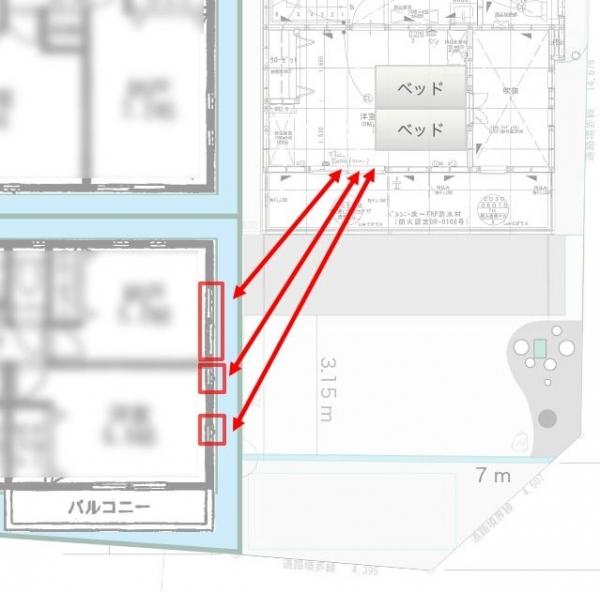 隣の家との配置関係2F_目線