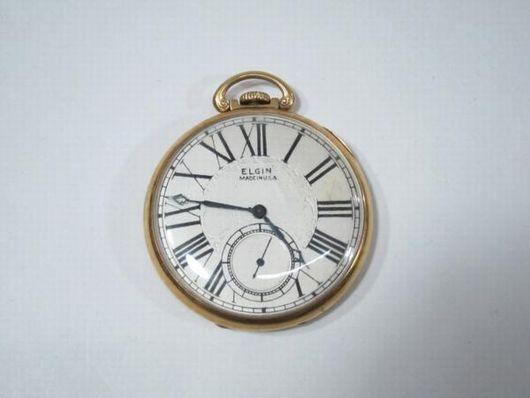 アンティーク エルジン 14K 手巻き 懐中時計