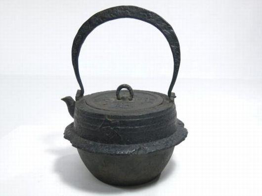 鉄瓶 茶飯型 古銭文蓋 茶道具