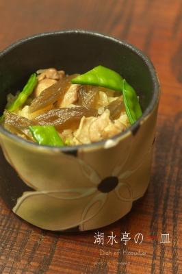 湖水亭の一皿 蕗・筍・キヌサヤの炊き込みご飯