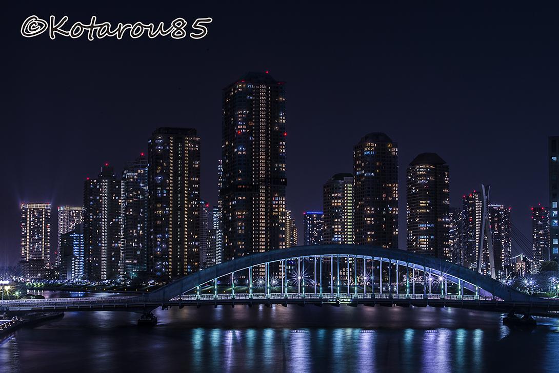 深夜の隅田川大橋 20170414