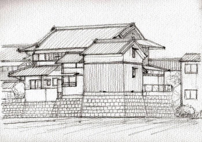 関西の民家 高槻 デッサン (700x492)