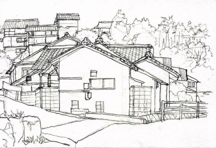 加茂町の風景2 デッサン (700x479)
