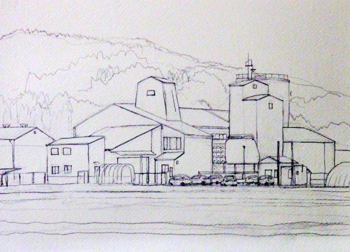 赤い屋根のJA デッサン (700x504)