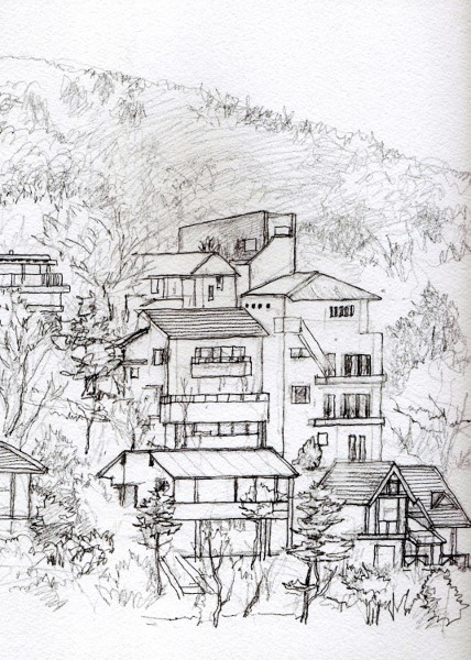 東条湖岸の別荘 デッサン (428x600)