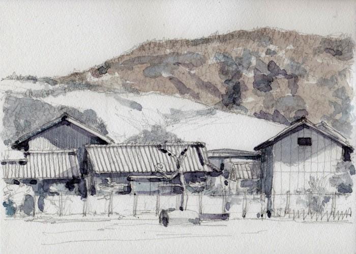 奈良の若草山 グリザイユ (700x499)