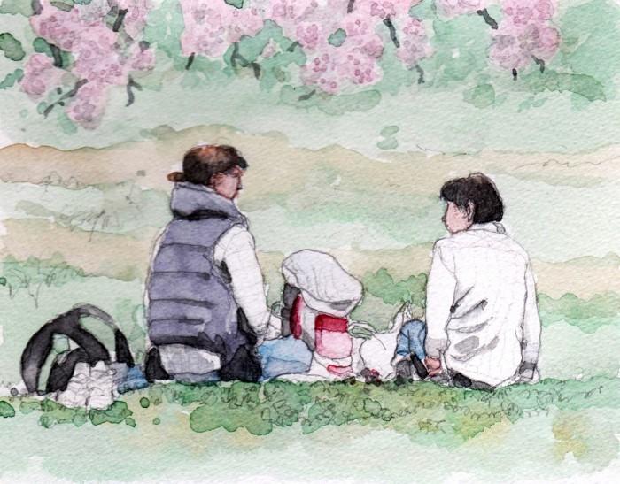 母娘で花見 (700x547)