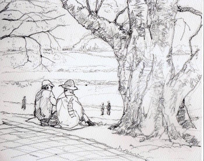 背割堤桜の花見 デッサン (700x551)