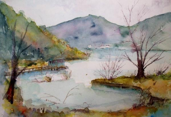 A余呉湖雨
