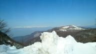冬の長野県道美ヶ原公園沖線 (美ヶ原高原道路) からの景色
