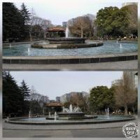 日比谷公園 噴水とビル