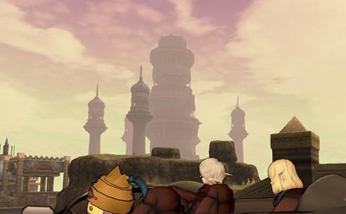 海岸遺跡からリンジャの塔を見る