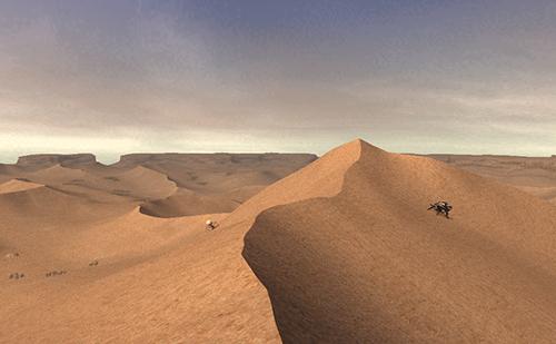 東は砂漠らしさが強調されている
