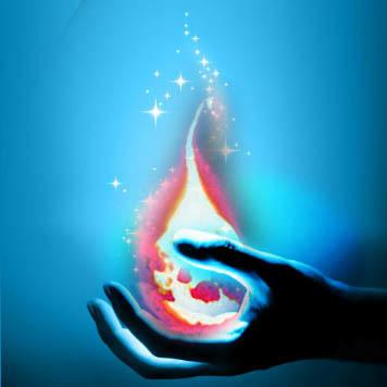 水晶左手燃えた