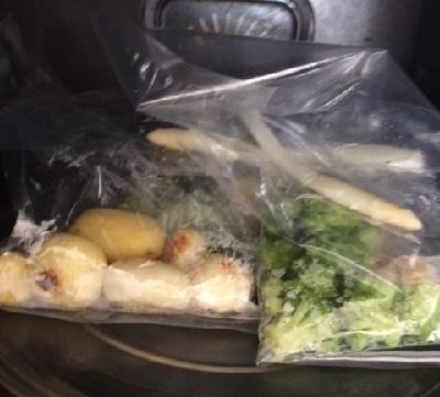 レンジの中放置の野菜