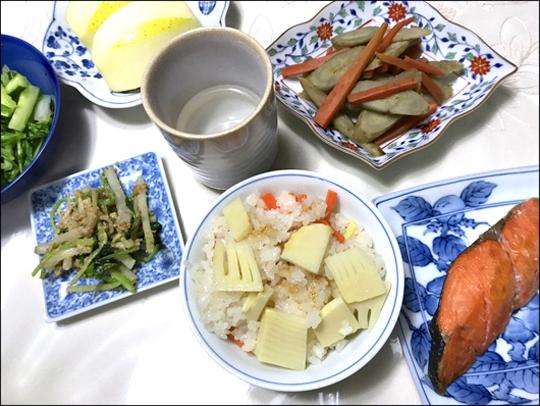 筍ご飯と薄塩鮭